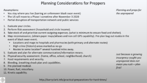 Prepper Planning Factors